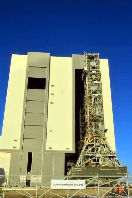 NASA's Mobile Launcher undertook a journey that lasted multiple hours to Launch Complex 39B. Photo Credit: Graham Smith / SpaceFlight Insider