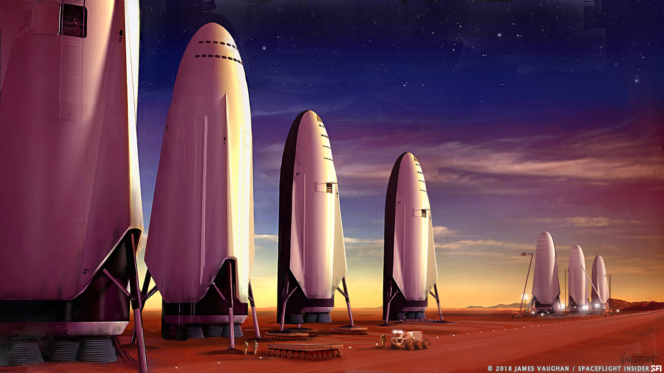SpaceX has stated that the BFR would be capable of sending crews to the Moon and Mars. Image Credit: James Vaughan / SpaceFlight Insider
