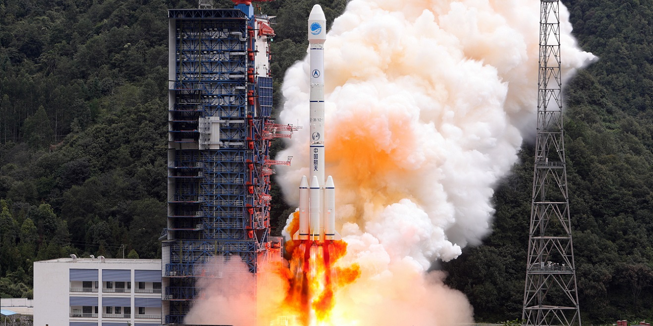 A Long March 3B rocket launches with BeiDou-3 M15 and M16 satellites on Oct. 15, 2018. Photo Credit: Xinhua/Liang Keyan