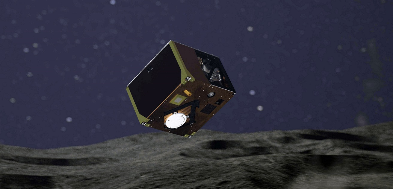 Artist's impression of MASCOT during landing on asteroid Ryugu.