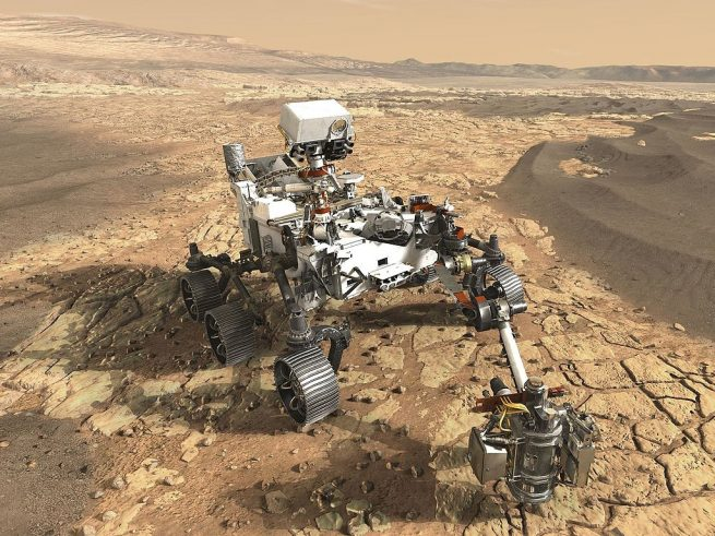 An artist's depiction of the Mars 2020 rover on the surface of the Red Planet. Image Credit: NASA / JPL Caltech