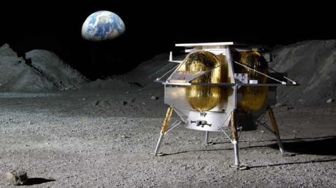 A rendering of Astrobotic's Peregrine lander on the surface of the Moon. Image Credit: Astrobotic