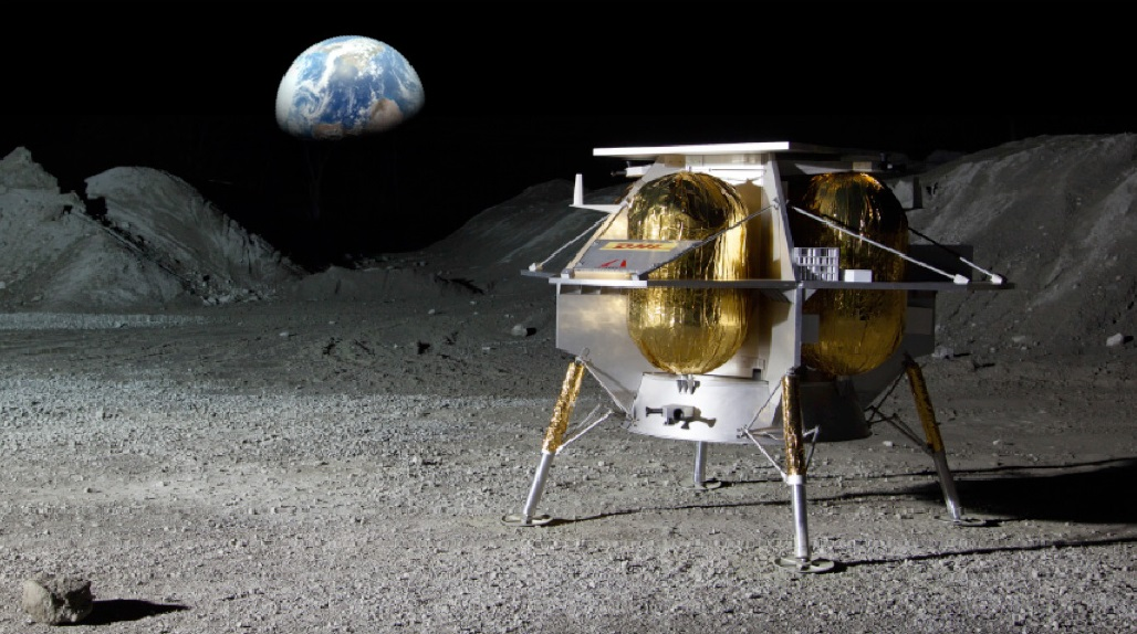 Astrobotic's Peregrine lander on the surface of the Moon. Image Credit Astrobotic