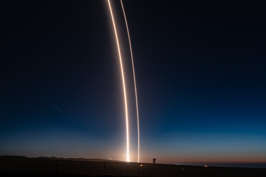 The Falcon 9 with SAOCOM 1A soars away from Vandenberg Air Force Base. Photo Credit: Elon Musk / SpaceX