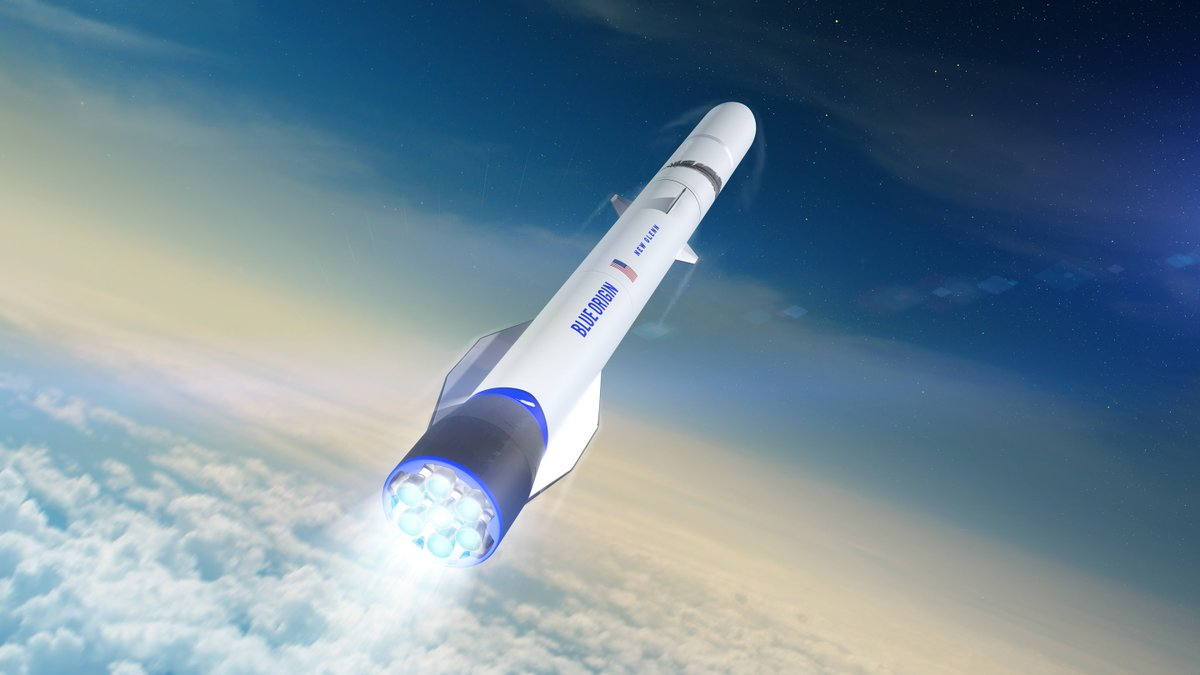 An artist's rendering of Blue Origin's New Glenn rocket during an ascent into orbit. Image Credit: Blue Origin