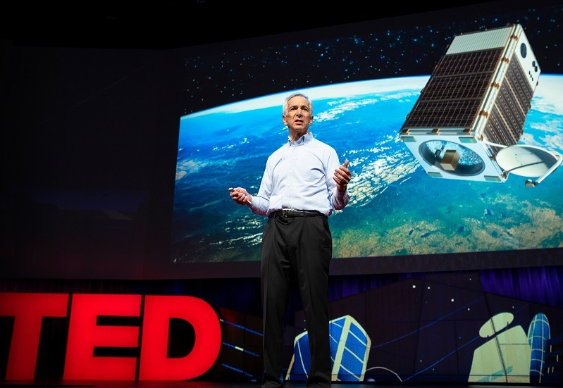 EDF President Fred Krupp introduces MethaneSAT during a TED Talk on April 11, 2018, in Vancouver, BC, Canada.