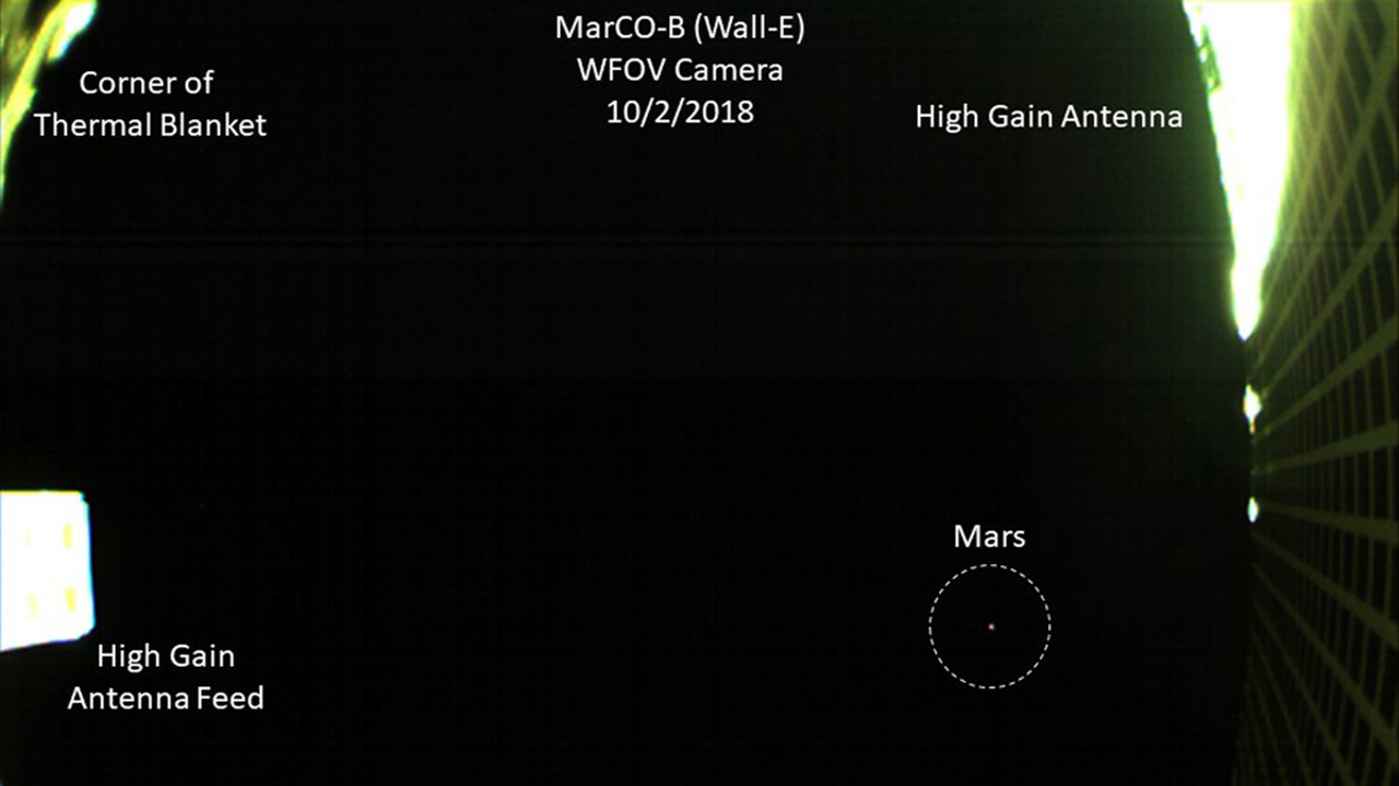 MarCO-B made history earlier this month by being the first CubeSat to capture a photo of Mars. The tiny spacecraft snapped this image on Oct. 2. Image Credit: NASA/JPL-Caltech