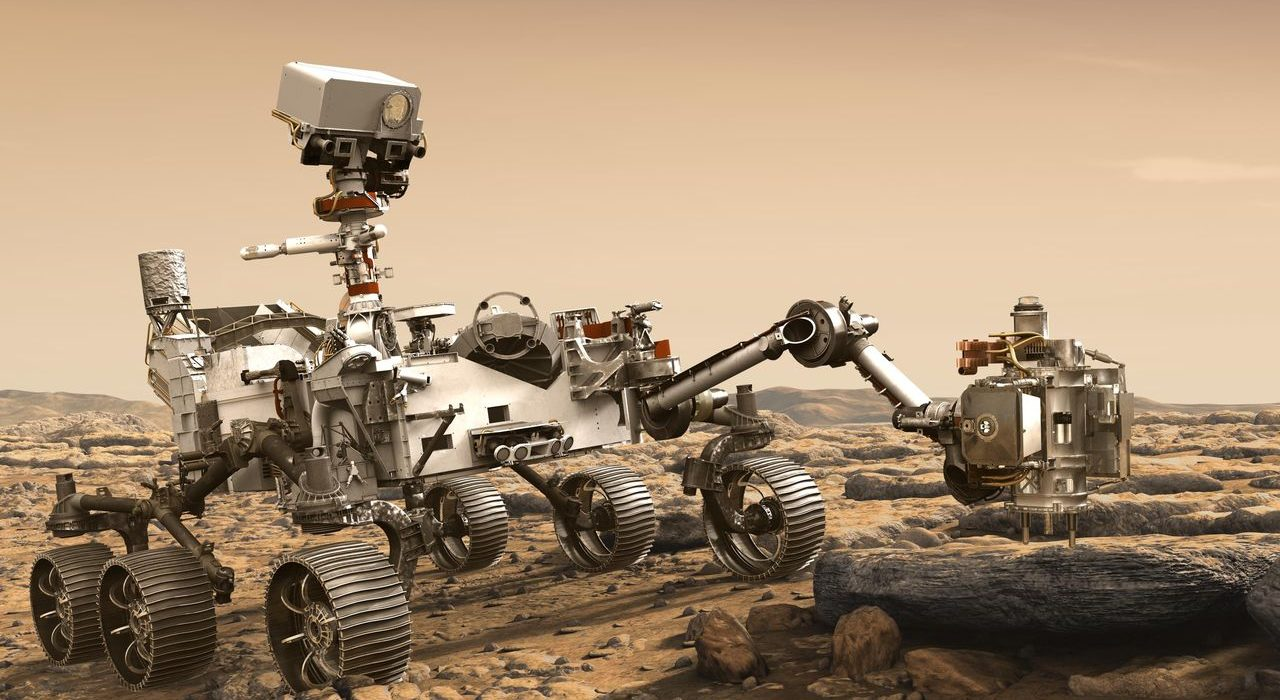 This artist's rendition depicts NASA's Mars 2020 rover studying a Mars rock outrcrop. NASA is inviting the public to submit their names to be etched onto a chip to fly aboard this vehicle. Image Credit: NASA/JPL-Caltech