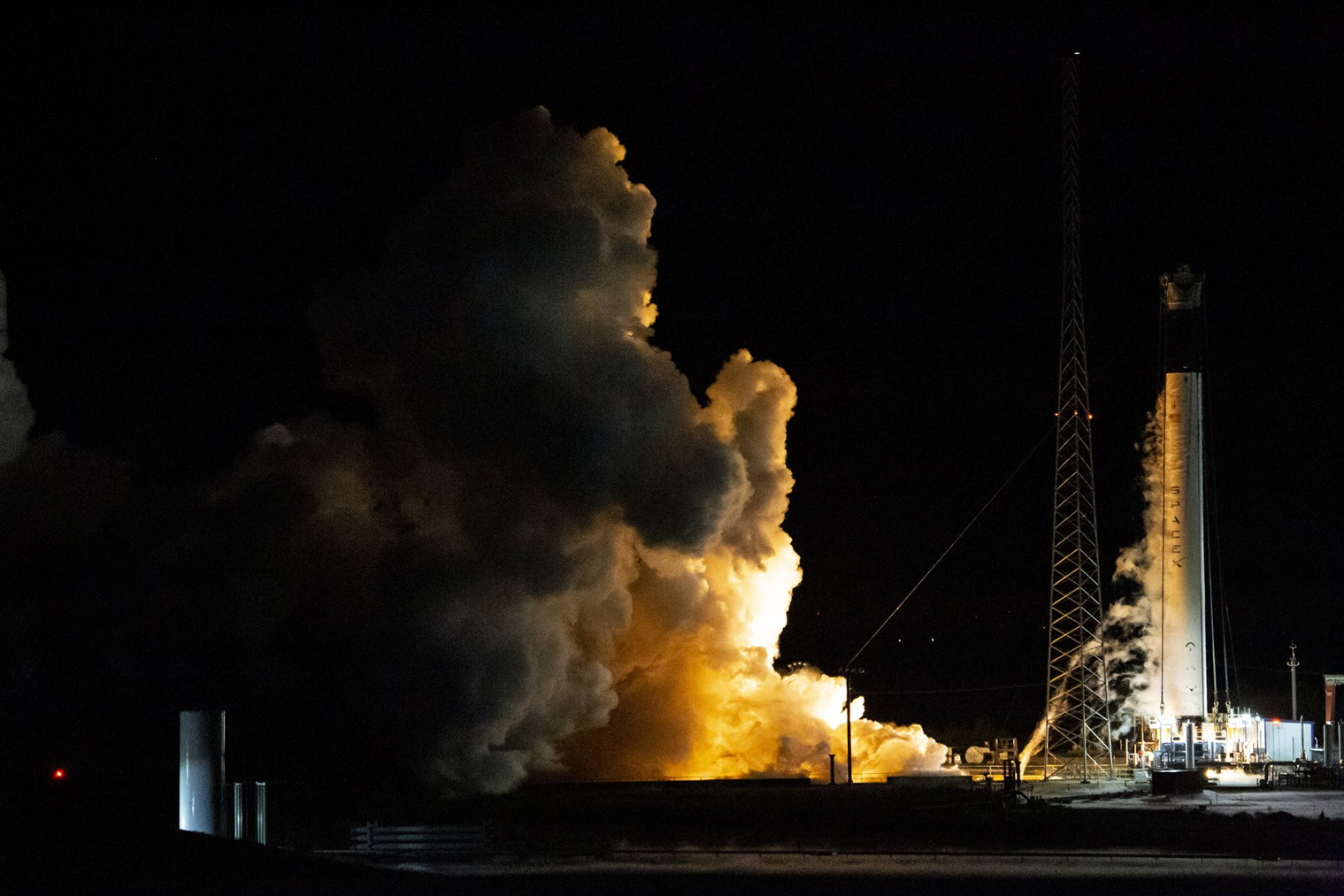 SpaceX Falcon 9 rocket for Commercial Crew Progam undergoes a test fire at McGregor Texas photo credit SpaceX