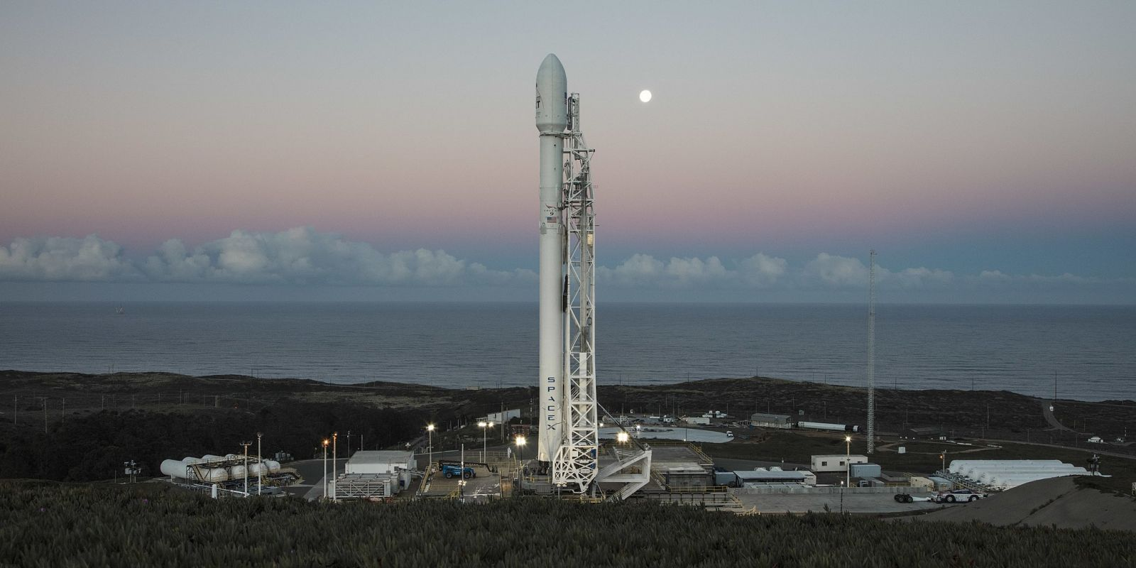 SpaceX Falcon 9 rocket with Iridium spacecraft preparing to launch from Vandenberg Air Force Base photo credit SpaceX