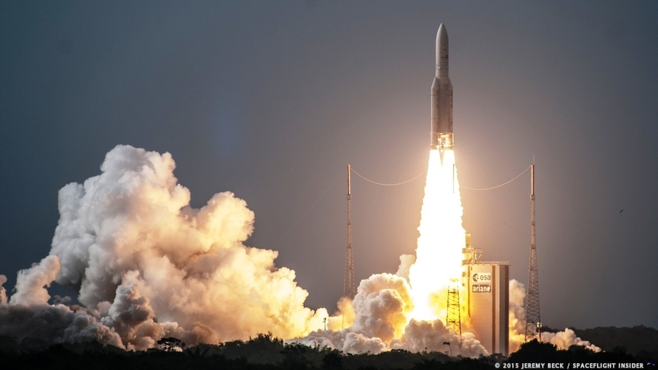 A file photo of an Ariane 5 rocket lifting of from the spaceport near Kourou, French Guiana. Photo Credit: Jeremy Beck / SpaceFlight Insider