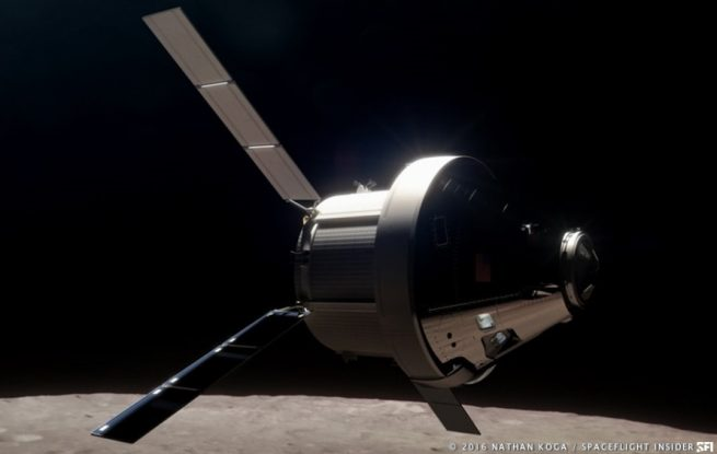 Lockheed Martin's Orion spacecraft in lunar orbit. Image Credit: Nathan Koga / SpaceFlight Insider