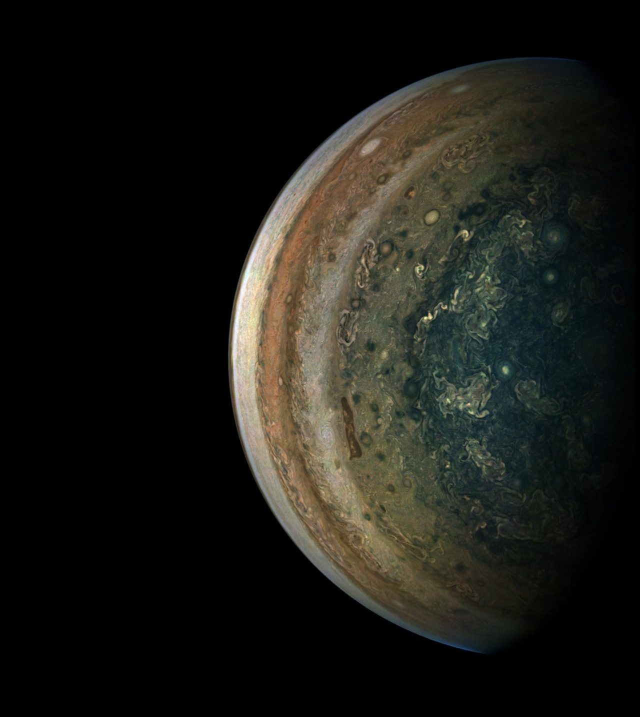 In the final minutes of a recent close flyby of Jupiter, NASA's Juno spacecraft captured a departing view of the planet's swirling southern hemisphere. Image Credit: mage Credits: NASA/JPL-Caltech/SwRI/MSSS/Gerald Eichstädt