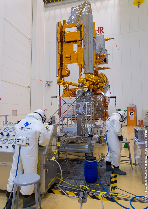 The Metop-C satellite is fueled in a clean room.
