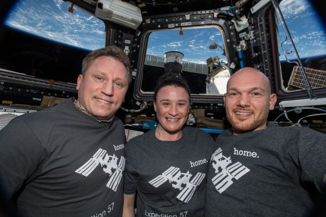 The current Expedition 57 crew -- Russian cosmonaut Sergey Prokopyev, left, NASA astronaut Serena Aunon-Chancellor, center, and European Space Agency astronaut Alexander Gerst, take a group photo in the cupola window aboard the International Space Station. Photo Credit: NASA