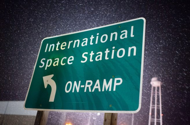A sign at the entrance to pad 0A at the Mid-Atlantic Regional Spaceport in Virginia. Photo Credit: Joel Kowsky / NASA