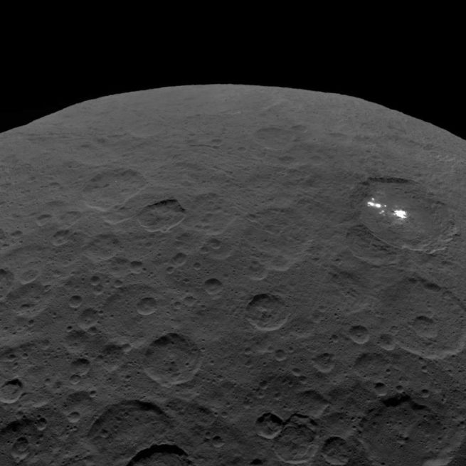 The dwarf planet Ceres as viewed by NASA's Dawn spacecraft. Photo Credit: NASA