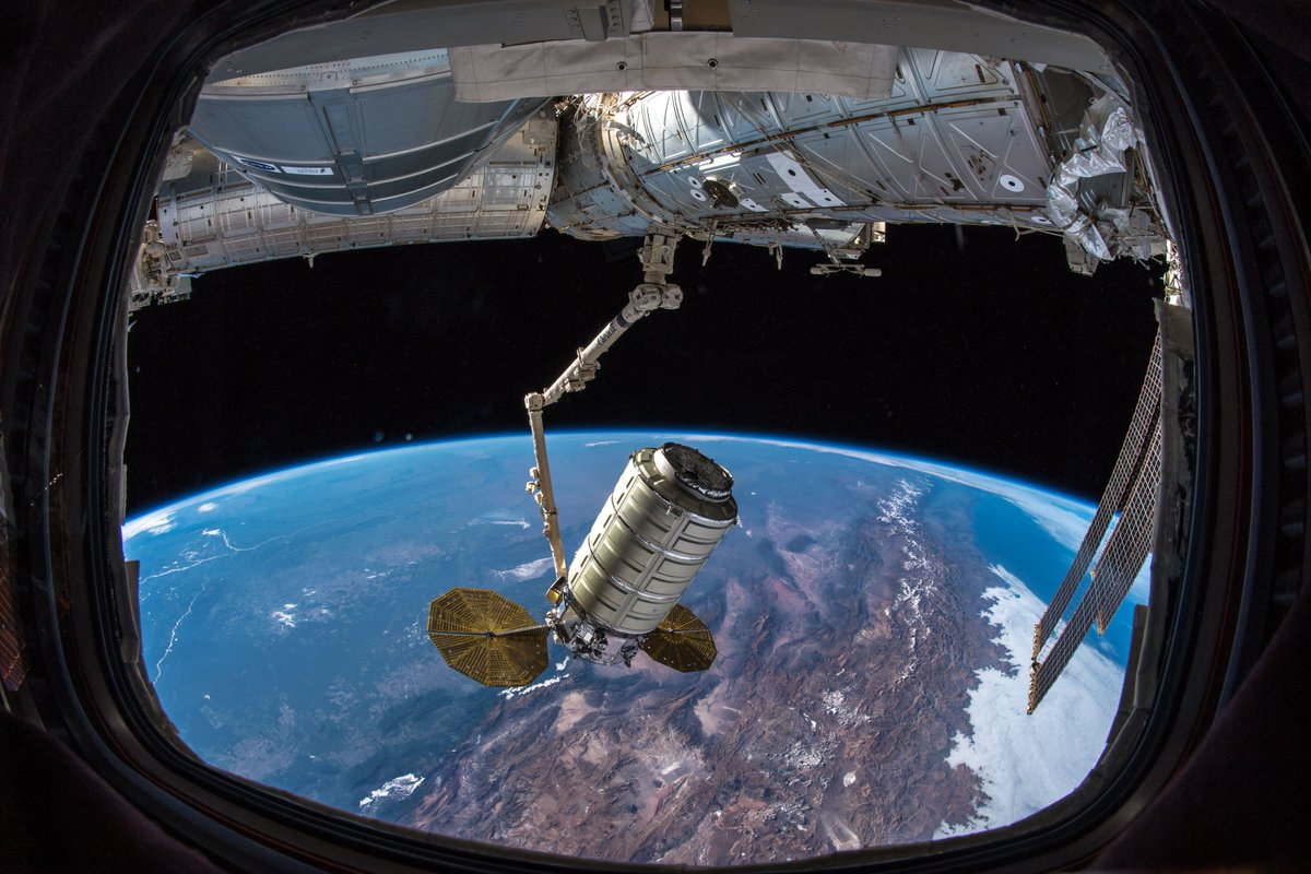 The NG-10 Cygnus being moved to the Earth-facing port of the Unity module following capture. Photo Credit: NASA