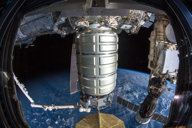 The NG-10 Cygnus is berthed to the Unity module. Photo Credit: NASA