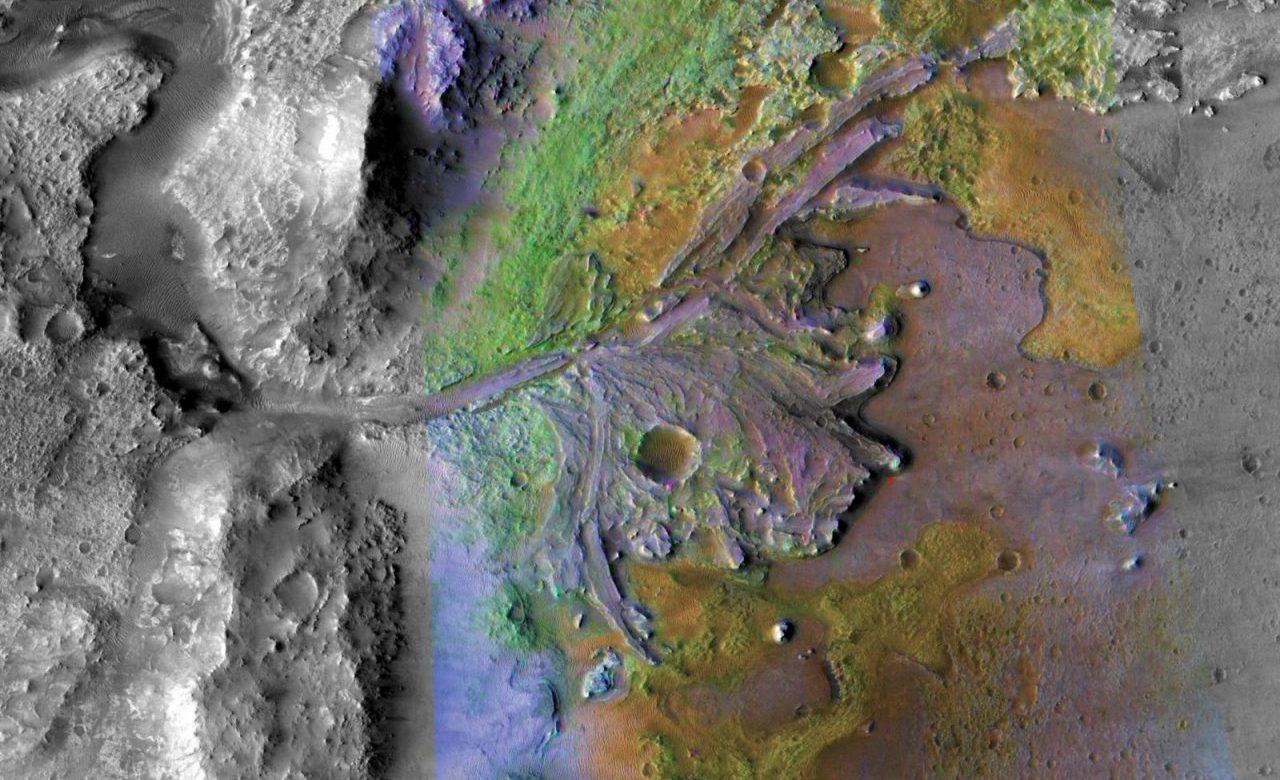 Orbital reconnaissance of Jezero Crater on Mars show evidence of clay- and carbonate-containing sediments, which could indicate chemical alteration by water, according to NASA. Image Credit: NASA/JPL/JHUAPL/MSSS/Brown University