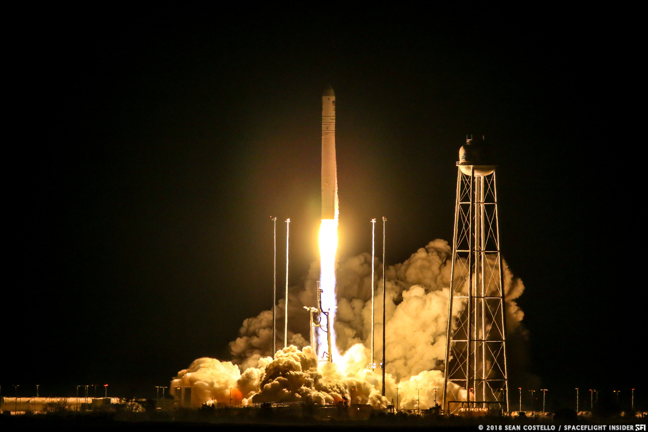 An Antares launches the NG-10 Cygnus spacecraft into space. It is set to rendezvous with the International Space Station on the morning of Nov. 19, 2018. Photo Credit: Sean Costello / SpaceFlight Insider