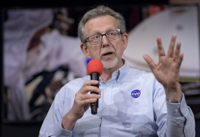 NASA Chief Scientist Jim Green provides attendees of a social media event held at the agency's Jet Propulsion Laboratory in California with an overview of the InSight lander mission. Photo Credit: Bill Ingalls / NASA