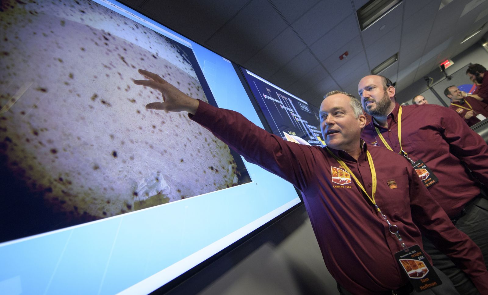 Tom Hoffman, InSight Project Manager, NASA JPL reacts to the first image to be seen from the Mars InSight lander shortly after confirmation of a successful touch down on the surface of Mars, Monday, Nov. 26, 2018 inside the Mission Support Area at NASA's Jet Propulsion Laboratory in Pasadena, California. Photo & Caption Credit: Bill Ingalls / NASA