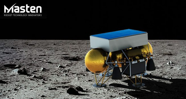 Artist's depiction of Masten's XL-1 lander on the surface of the Moon. Image Credit: Masten