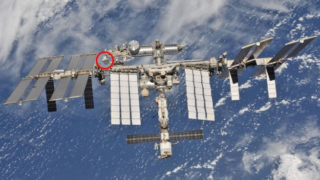 The location of the Exposed Pallet (seen in the red circle) as of the departure of Soyuz MS-08 on Oct. 4, 2018. Photo Credit: NASA/Roscosmos