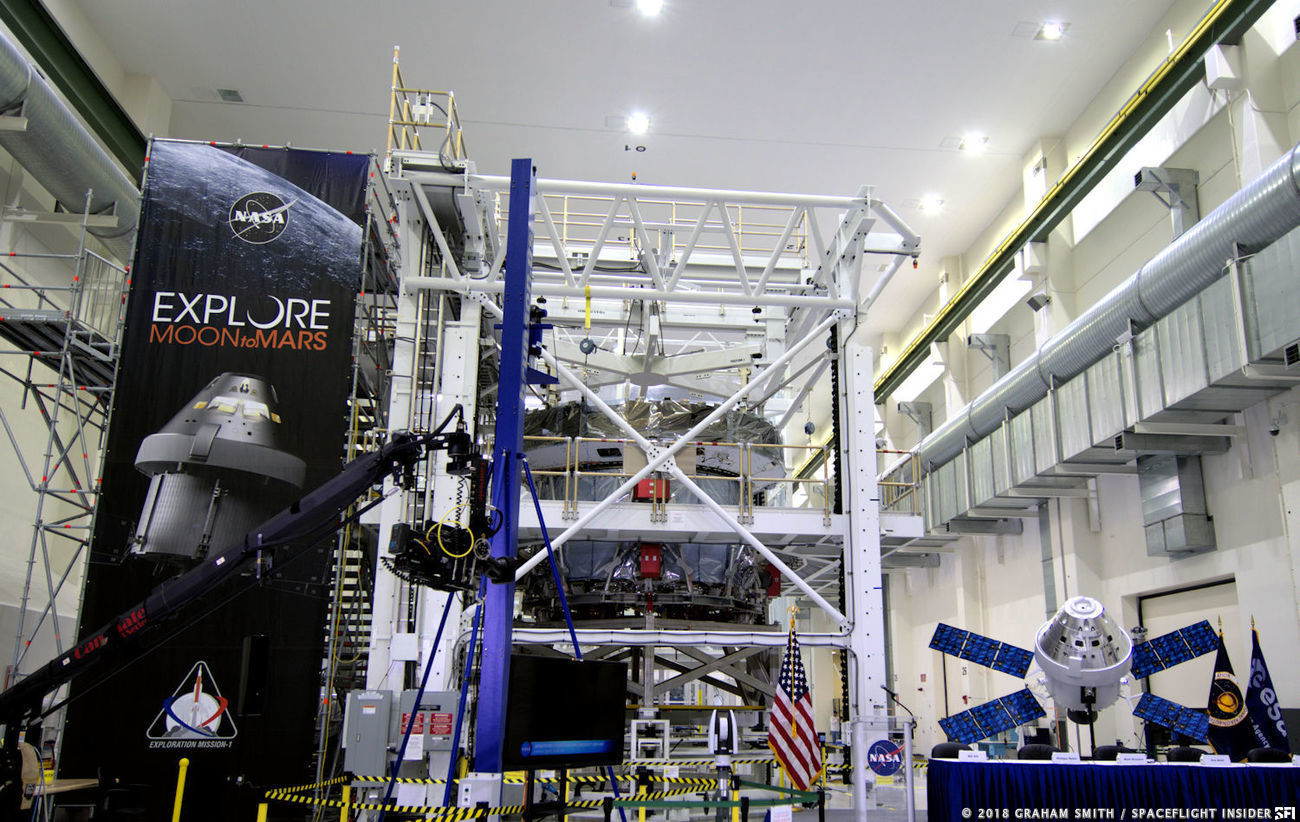 The Service Module for Exploration Mission 1's Orion spacecraft. Photo Credit: Graham L. Smith / SpaceFlight Insider
