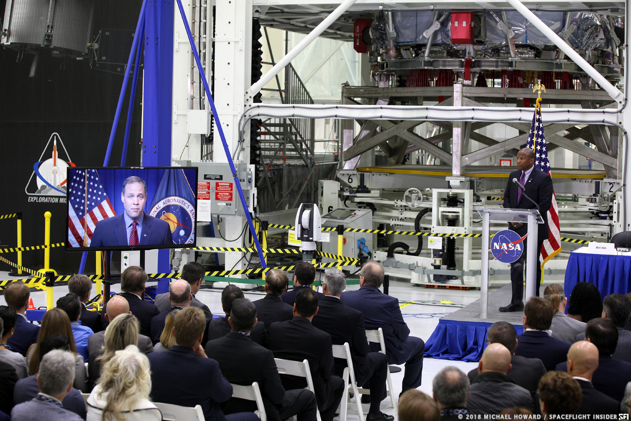 "Bridenstine was able to ""attend"" via video. Photo Credit: Mike Howard / SpaceFlight Insider"