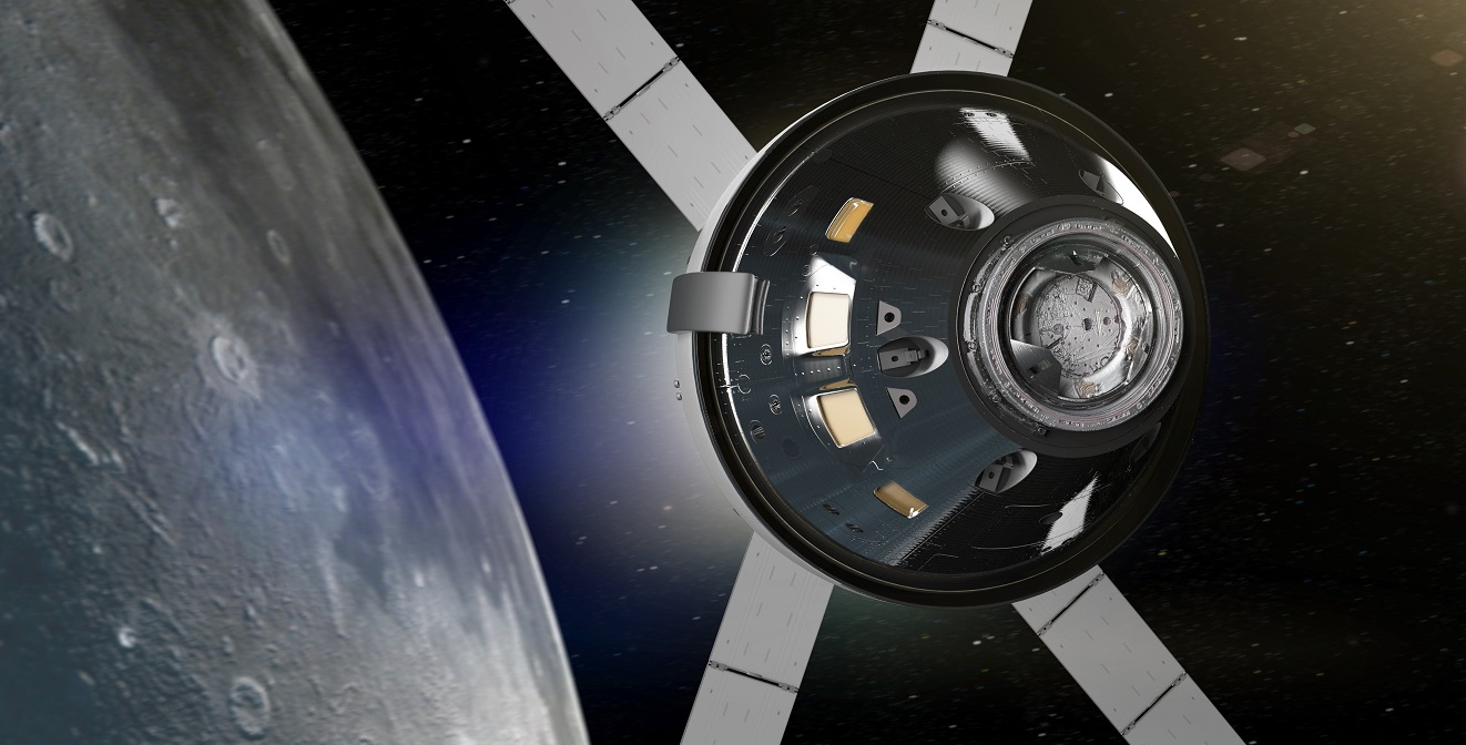 An artist's rendering of NASA's Orion spacecraft in lunar orbit. Image Credit: NASA.
