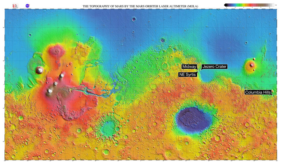 A topographical map of Mars with the four proposed landing sites for the Mars 2020 mission. Image Credit: NASA