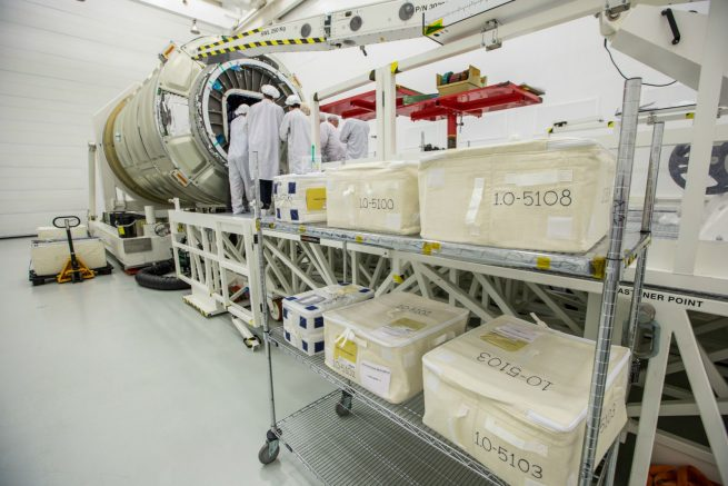 The NG-10 Cygnus is loaded with supplies and experiments at NASA's Wallops Flight Facility before its flight to the International Space Station. Photo Credit: Patrick Black / NASA