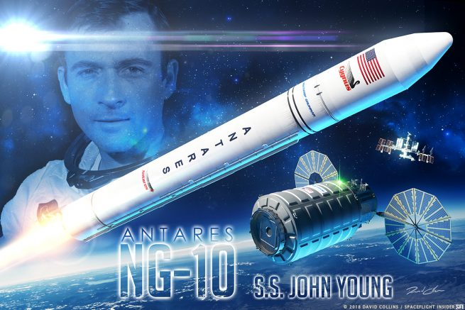 Northrop Grumman has named the NG-10 Cygnus spacecraft in honor of Gemini and Apollo astronaut John Young. Image Credit: David Collins / SpaceFlight Insider