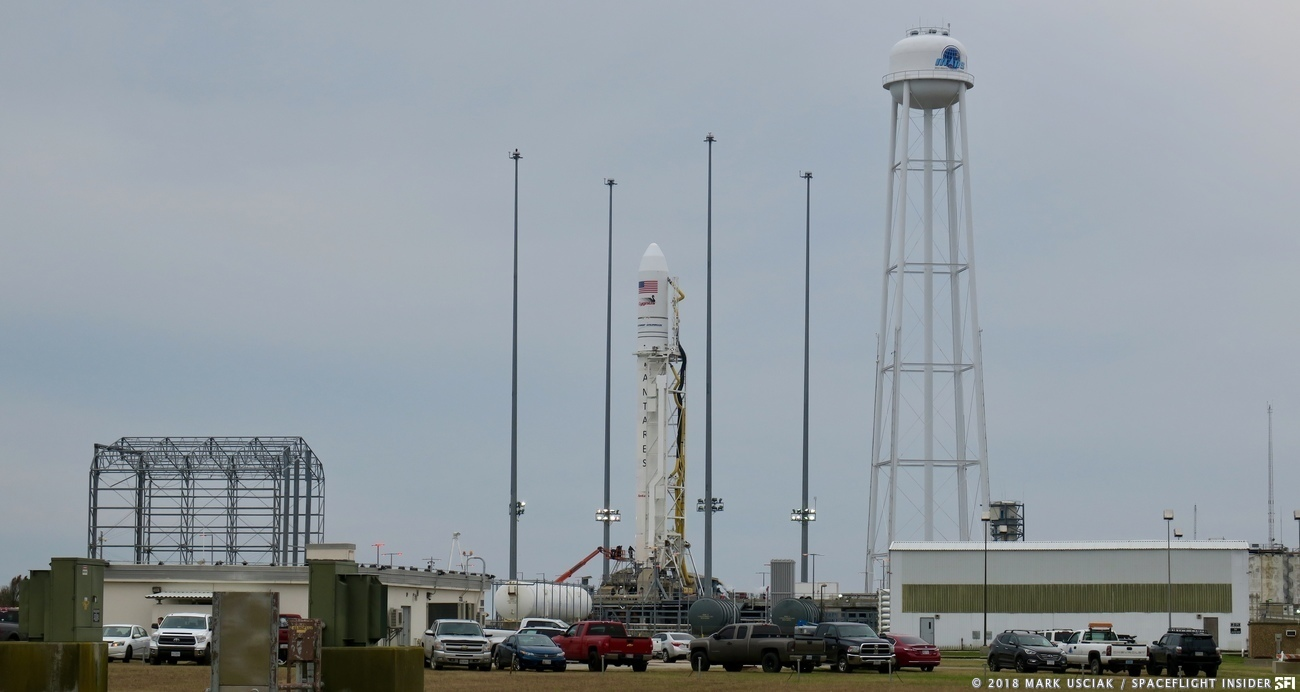 Northrop Grumman Antares rocket with S.S. John Young Cygnus spacecraft at Pad 0A at NASA's Wallops Flight Facility. Photo Credit: Mark Usciak / SpaceFlight Insider