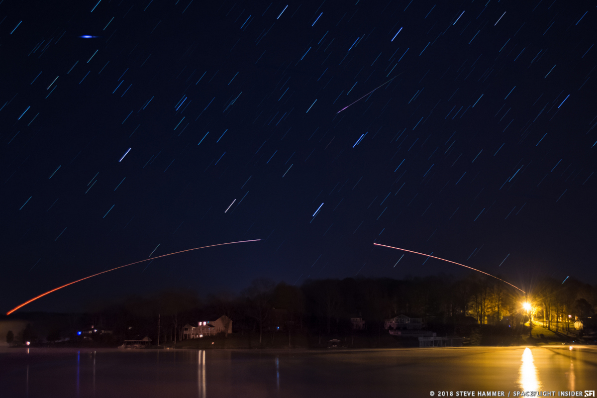 The Antares 230 rocket arcs out across Virginia's early morning skies. Photo Credit: Steve Hammer / SpaceFlight Insider