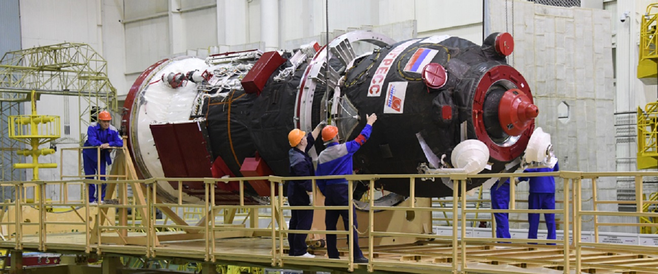 The Progress MS-10 spacecraft being readied for the launch. Photo Credit: RKK Energia.