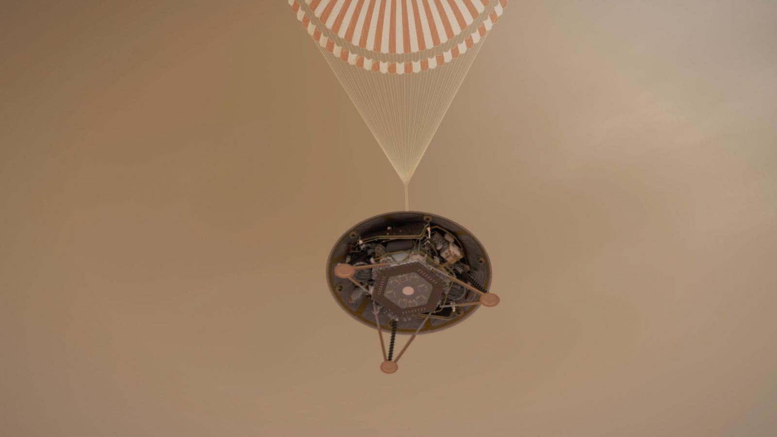 NASA mission managers successfully landed the InSight lander on Mars at the Elysium Planitia region at 3 p.m. ET (noon Pacific / 19:00 GMT) today, Monday, Nov. 26. Image Credit: NASA / JPL-Caltech