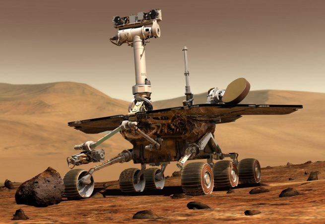 An artist's depiction of NASA's Opportunity Mars Exploration Rover. Image Credit: NASA