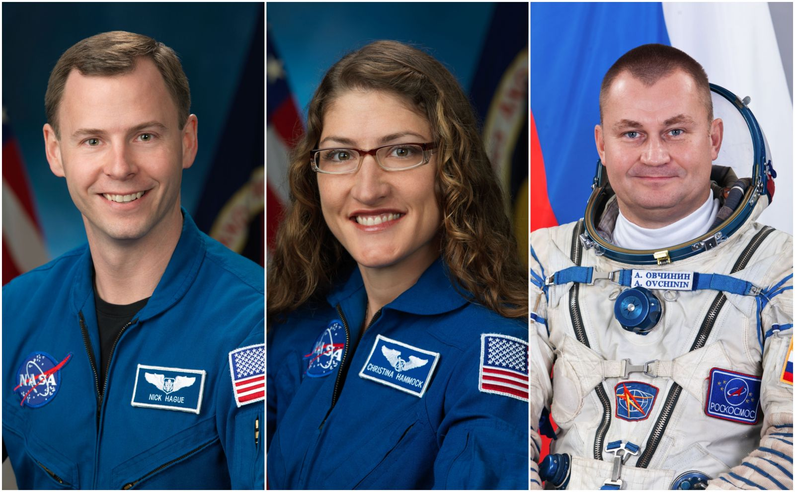 NASA astronaut Nick Hague, left, and Russian cosmonaut Aleksey Ovchinin, right, will fly to space again after their aborted Soyuz MS-10 mission in October 2018. The will join NASA astronaut Christina Koch as part of the crew of Soyuz MS-12 in late February 2018. Photo Credit: NASA
