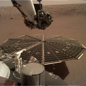 One of InSight's 7-foot (2.2 meter) wide solar panels was imaged by the lander's Instrument Deployment Camera, which is fixed to the elbow of its robotic arm. Image Credit: NASA/JPL-Caltech.