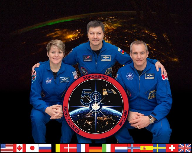 The three-person Expedition 58 crew currently aboard the International Space Station includes NASA astronaut Anne McClain, left, Russian cosmonaut Oleg Kononenko, center, and Canadian Space Agency astronaut David Saint-Jacques. Photo Credit: NASA