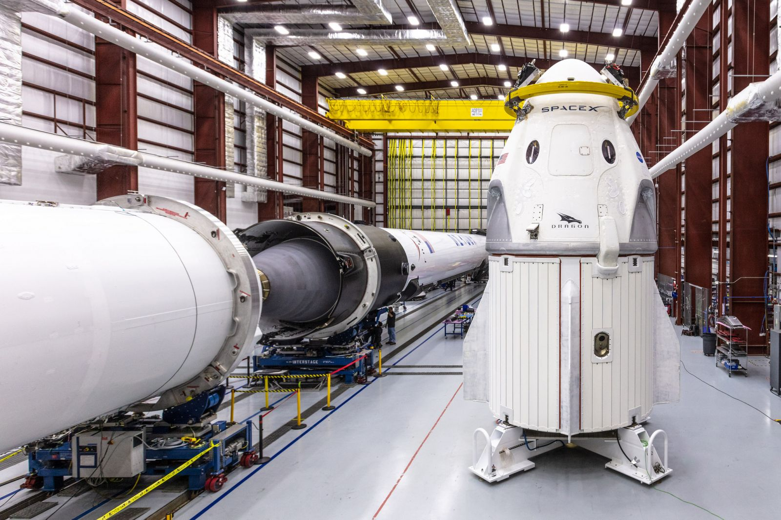 SpaceX's Crew Dragon to be used on the Demo-1 mission sits in the company's hangar at Launch Complex 39A. Photo Credit: SpaceX
