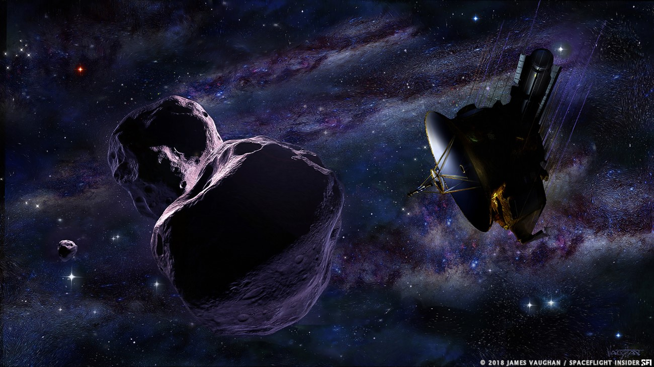 A billion miles farther away from Earth than Pluto, New Horizons zips by Kuiper Belt object Ultima Thule in this illustration. Image Credit: James Vaughan / SpaceFlight Insider