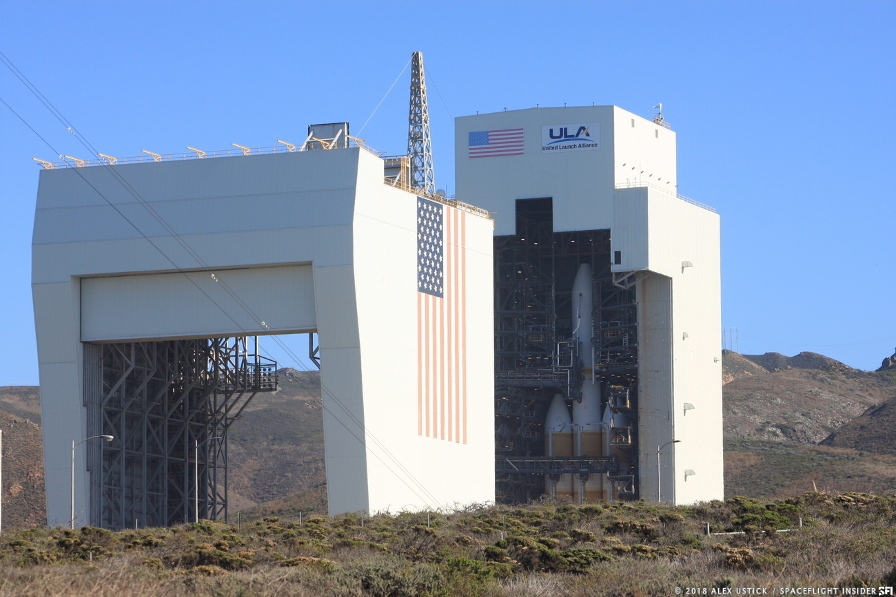 ULA's Delta IV Heavy rocket awaits launch at Vandenberg Air Force Base's Space Launch Complex 6 in California. Photo Credit: Alex Ustick / SpaceFlight Insider