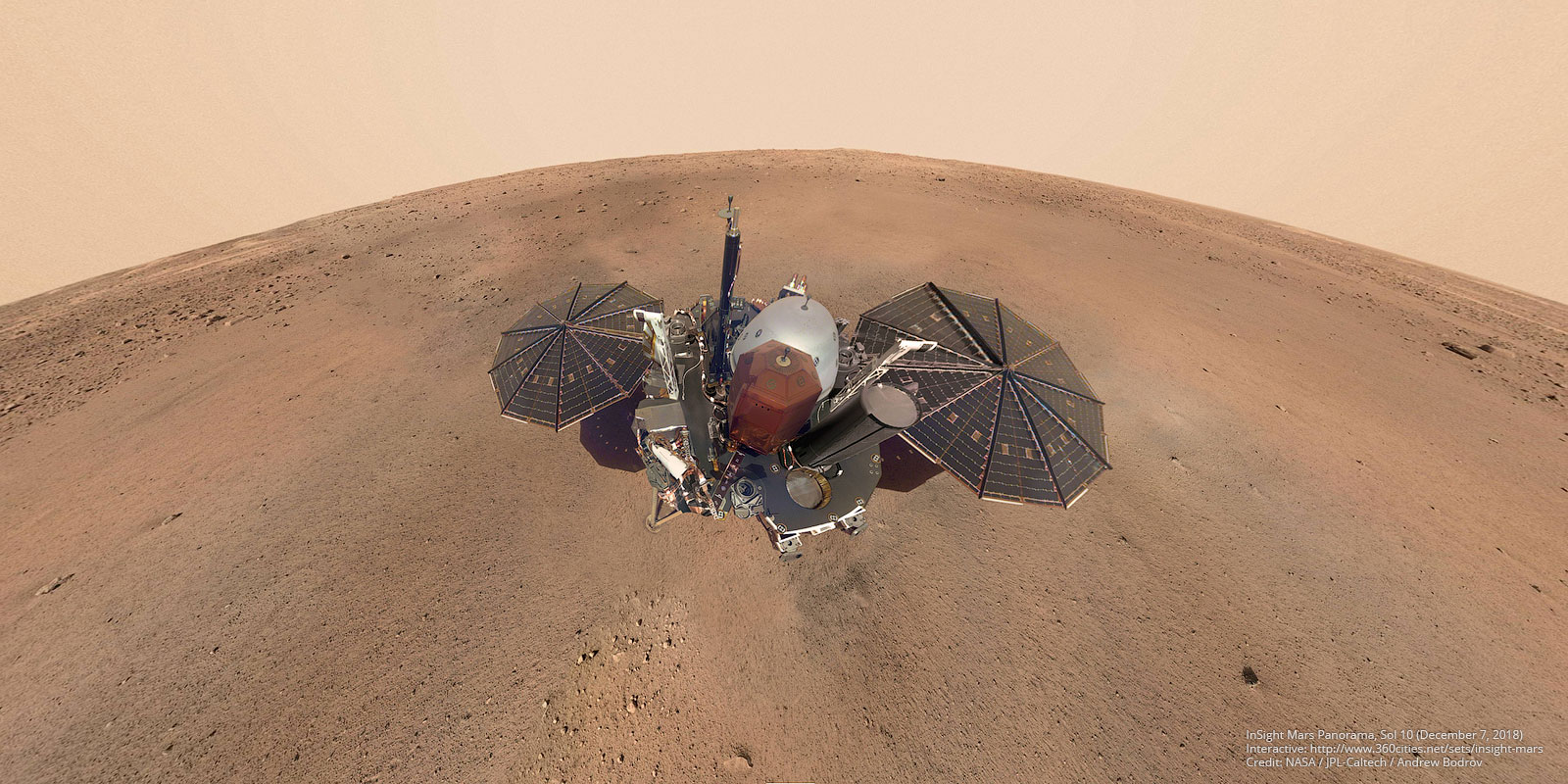 This panorama combines 10 exposures taken by the lander's Instrument Deployment Camera (IDC), located on the elbow of its robotic arm, during the Sol 10 of InSight's work on Mars (December 7, 2018). Additionally 86 images of landscape was taken on Sol 14 (December 11, 2018). Some parts of the panorama is retouched. Image Credit: NASA/JPL-Caltech/Andrew Bodrov