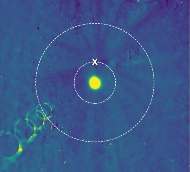 The two possible flyby distances for New Horizons are indicated by the two concentric circles. The mission has decided to fly along the closer path, toward the target point marked by an X. Ultima Thule is the bright yellow spot in the middle. Image and Caption Credit: NASA/Johns Hopkins Applied Physics Laboratory/Southwest Research Institute