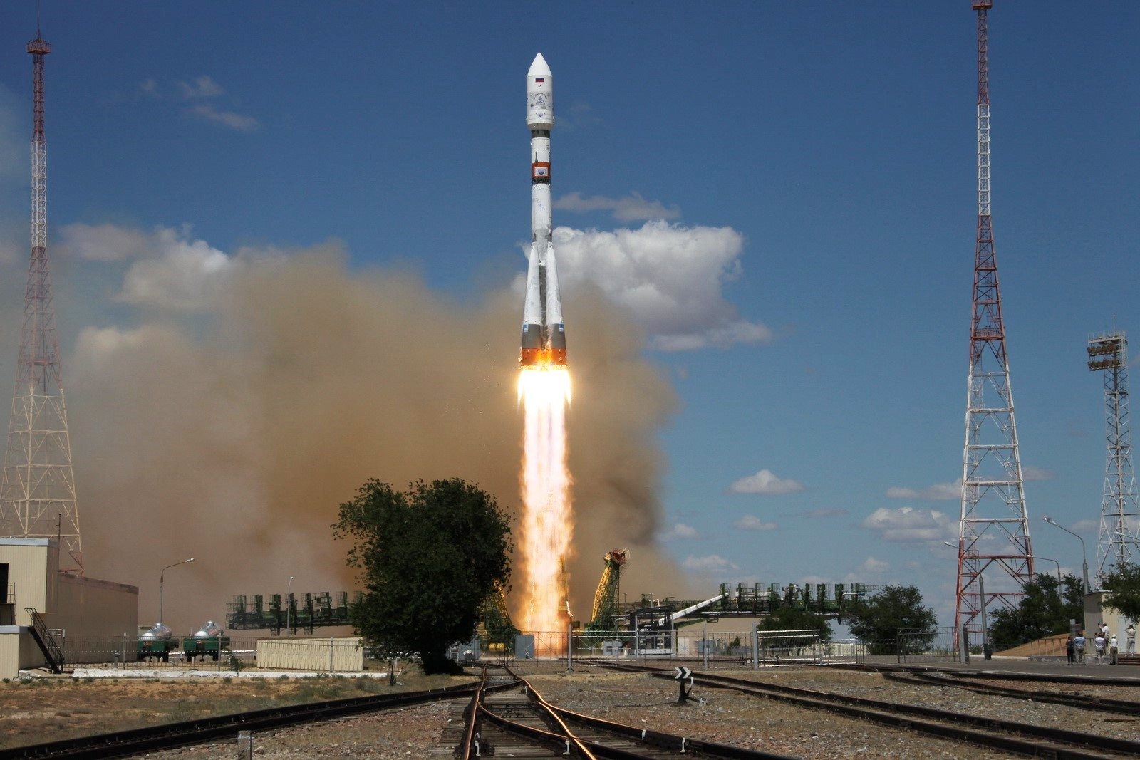 A file photo of a Soyuz-2.1a rocket launching an earlier set of Kanopus satellites (from the Baikonur Cosmodrome). Photo Credit: Roscosmos