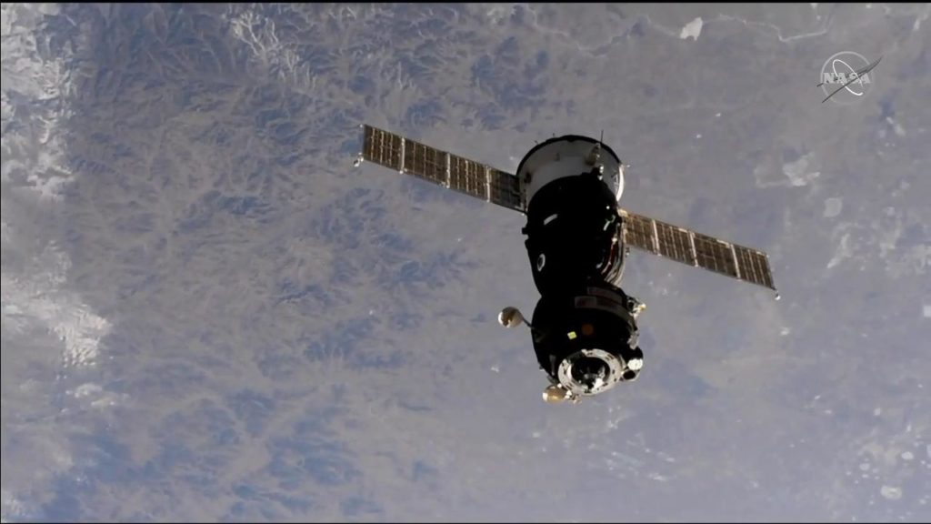 Soyuz MS-09 undocks from the ISS. Photo Credit: NASA